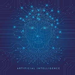 Artificial Intelligence. Digital Face Scanning. Computer electronic circuit. Concept of artificial intelligence or ai technology advancement. Blue background.