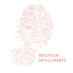 Artificial Intelligence. Digital Face Scanning. Computer electronic circuit. Concept of artificial intelligence or ai technology advancement. Isolated.