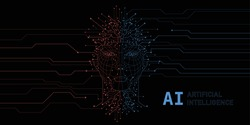 Artificial Intelligence. Digital Face Scanning. Computer electronic circuit. Concept of artificial intelligence or ai technology advancement. Black background.