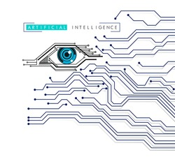 Artificial Intelligence eye icon electronic eye concept, technologies for the global surveillance, security of computer systems and networks