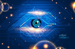 Artificial Intelligence eye icon electronic eyes concept, technologies for the global surveillance, security of computer systems and networks