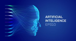 artificial intelligence face, face from particles, data analysis, data science.