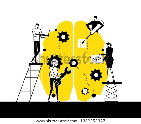 Artificial intelligence - flat design style vector illustration. Black, white and yellow composition with male, female programmers fixing a big brain with a wrench, screwdriver, working at the laptop