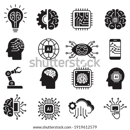 artificial intelligence icon set in flat style, machine learning, smart robotic and cloud computing network digital AI technology: internet, solving, algorithm, vector illustration