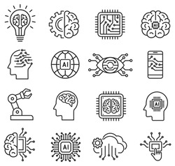 artificial intelligence icon set in line style, machine learning, smart robotic and cloud computing network digital AI technology: internet, solving, algorithm, vector illustration