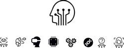 Artificial intelligence icon set vector design