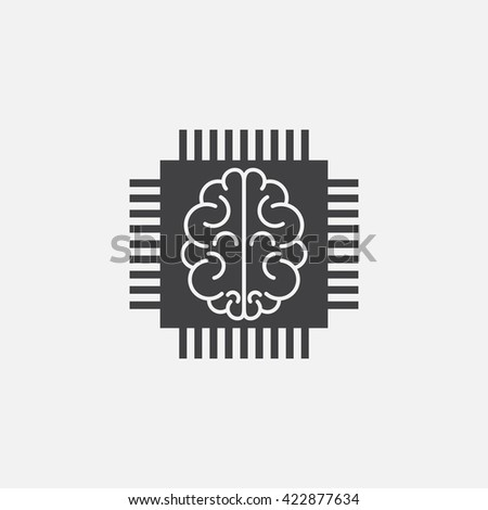 artificial intelligence icon vector, chip solid logo illustration, cpu pictogram isolated on white