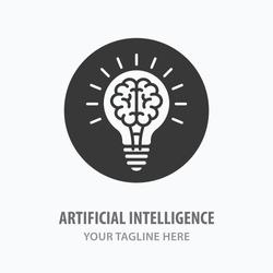 Artificial intelligence icon. Vector illustration. Symbol of innovation, engineering, idea.