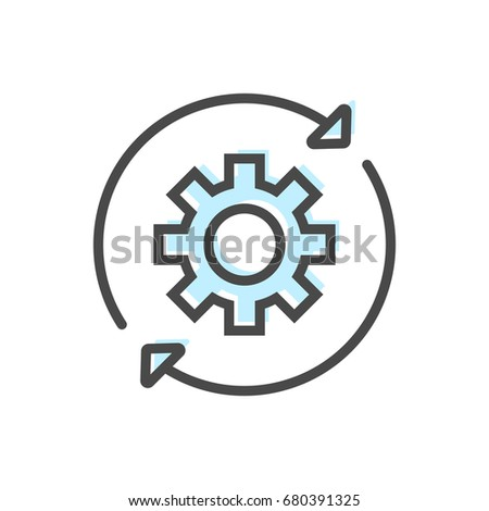 Artificial intelligence icon with gear symbol. Modern cyber linear pictogram, smart new technologies and innovation isolated vector illustration
