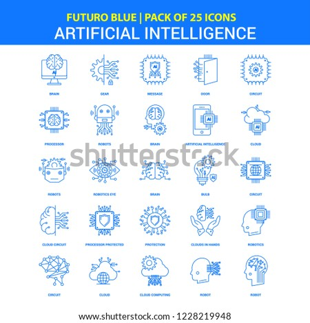 Artificial Intelligence Icons - Futuro Blue 25 Icon pack