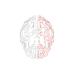 Artificial Intelligence illustration. Innovation brain concept. Graphic concept for your design.