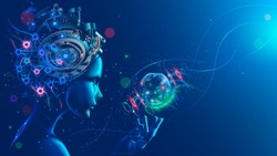Artificial intelligence in image of cyborg girl with electronic brain. Neural network trained using a virtual hud interface. Machine learning technology concept. Sci-Fi cybernetic robot with AI.