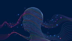 Artificial Intelligence in the form of a human head. Lines and dots on a dark blue background. Eps10 Vector