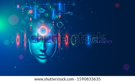Artificial intelligence in the image of a wise woman. AI conceptual futuristic blue banner. Cybernetics mind analysis data. Neuron network processes information. Interface consists of computer icons.