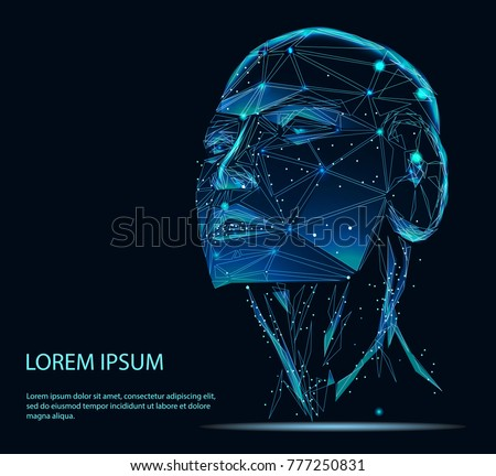 Artificial intelligence in virtual reality. Robot head conceptual design portrait. 3d. Lines connected to thinkers