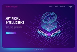 Artificial intelligence isometric landing page, ai technologies, glowing human brain levitate on antigravity platform with microcircuits on neon glowing futuristic background, 3d vector web banner