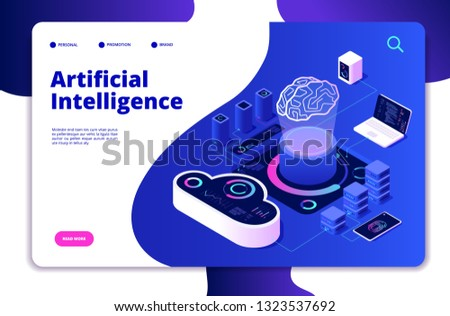 Artificial intelligence landing. Ai smart digital brain networking neural learning intelligent solutions innovations vector concept