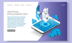 Artificial intelligence landing page website template. Vector isometric smartphone with chatbot personal assistant ai mobile apps. Robot virtual assistance concept.