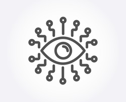 Artificial intelligence line icon. All-seeing eye sign. Quality design element. Classic style. Editable stroke. Vector