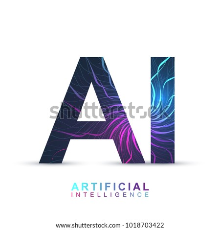 Artificial Intelligence Logo. Artificial Intelligence and Machine Learning Concept. Vector symbol (AI). Neural networks and another modern technologies concepts