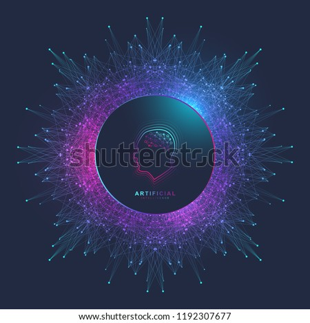 Artificial Intelligence Logo. Artificial Intelligence and Machine Learning Concept. Vector symbol AI. Neural networks and another modern technologies concepts. Technology sci-fi concept.