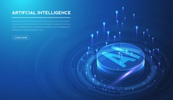 Artificial intelligence, machine learning, ai, data deep learning for future technology artwork, mining, isometric, neural network, machine programming and Responsive web banner. vector Illustration.