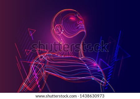 Artificial intelligence or robot with human face. Deep machine learning with neural network in abstract virtual world. Vector illustration