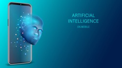 Artificial intelligence provide access to information and data in online networks smartphone. AI in the form of face cyborg coming out of the screen phone and offers to use digital mind illustration.