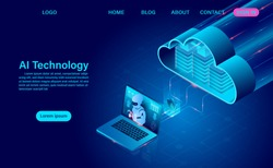 Artificial intelligence robot technology. system analysis cloud technology and big data processing protecting data security concept. isometric vector neon dark