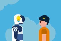 Artificial Intelligence robot vector concept: Robot with big and bright light bulb than man with small light bulb