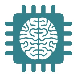 Artificial intelligence super brain computer chip or machine learning icon