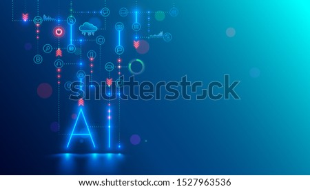 Artificial intelligence technology conceptual banner. AI neon letter in dark background links with icons. Tech analysis data. Machine learning of intellectual computer system of solution business task