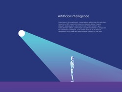 Artificial intelligence vector concept with ai robot standing in spotlight. Symbol of future advanced technology, progress and innovation. Eps10 vector illustration.