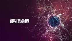 artificial intelligence vector illustration. Turbulence flow trail. Futuristic background