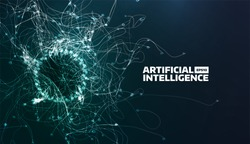 artificial intelligence vector illustration. Turbulence flow trail. Futuristic science background. Organic structure