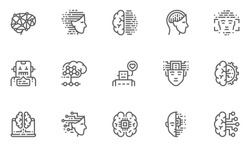 Artificial Intelligence Vector Line Icons Set. Face Recognition, Android, Humanoid Robot, Thinking Machine. Editable Stroke. 48x48 Pixel Perfect.