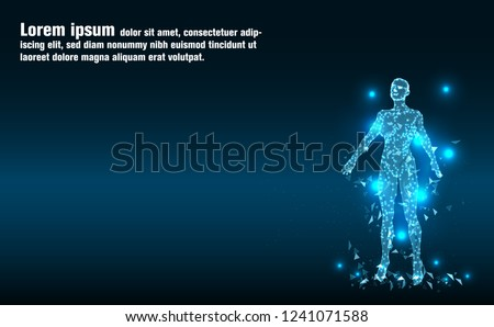 Artificial intelligence woman.Human body.Low Poly wire frame technology.Abstract Technology background.Futuristic concept.Cyber technology wire network futuristic wire frame.space.design.Vector