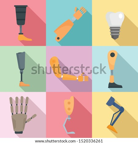 Artificial limbs icons set. Flat set of artificial limbs vector icons for web design
