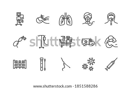 Artificial lung ventilation flat line icons set blue color. Vector illustration coronavirus test and medical equipment for covid-19. Nasal swab laboratory test, icu, oxygen mask, mouth-to-mouth resusc