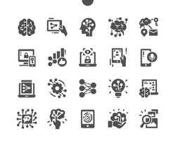 Artificial neural network. User recognition. Machine learning. Fingerprint recognition. Innovation, intelligence, smart, machine and processor. Vector Solid Icons. Simple Pictogram