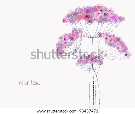 artificial pastel flower illustration, free copy space, spring flowers