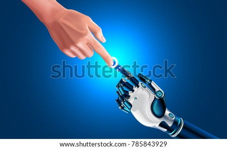 Artificial robot hand touch human hand. Symbol of connection and interaction, people and artificial intelligence. hands with index fingers. Science, future technology, progress, Industrial 4.0 concept Сток-фото ©