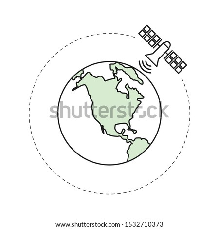 Artificial satellite orbiting around the globe. Outline thin line illustration. Isolated on white background.