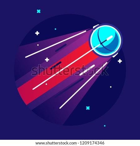 "Artificial satellite ""Sputnik"". Vector flat illustration."