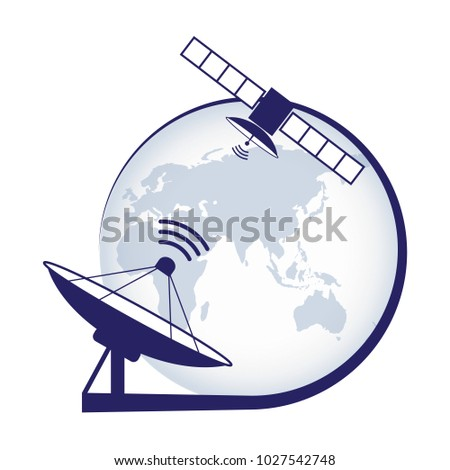 Artificial satellite. Telecommunication satellite on the earth geostationary in space and satellite antenna. Stock vector. Vector illustration EPS10.