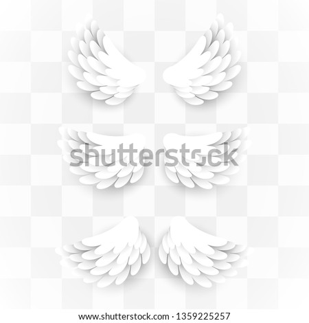 Artificial white paper wings set. Vector illustration