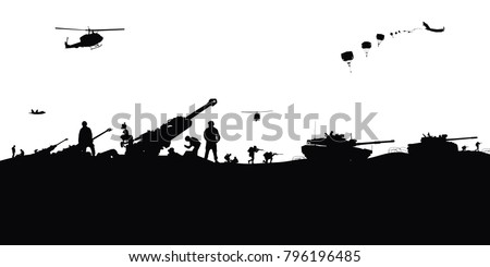 artillery silhouettes vector