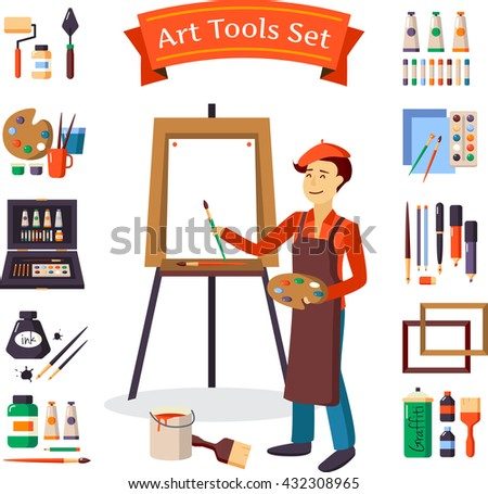 artist and art tools set for