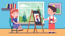 Artist boy kid painting portrait of smiling girl posing sitting on chair. Painter student man character painting picture on easel canvas learning to paint. Child art education flat vector illustration