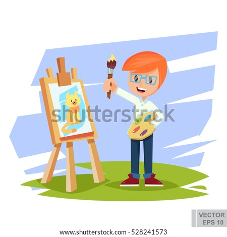 artist boy painting cat on
